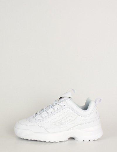 Γυναικεία λευκά αθλητικά παπούτσια τρακτερωτή σόλα KS1222