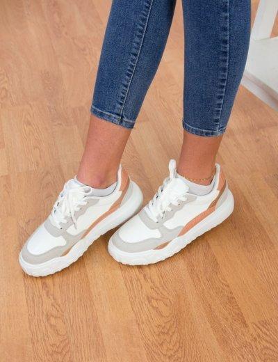 Γυναικεία γκρι Casual Sneakers δερματίνη 6135W