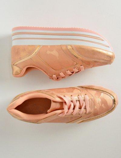 Γυναικεία Flatform Sneakers δίπατα ροζ military 9227C
