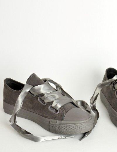 Γυναικεία sneakers suede με σατέν κορδέλα γκρι AD769G