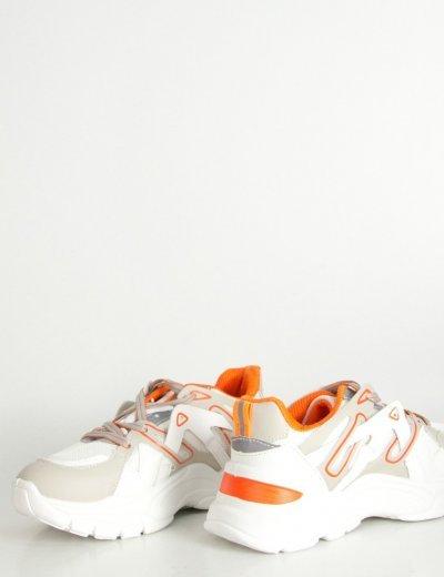 Γυναικεία λευκά δίσολα Sneakers με διπλά κορδόνια 03102L