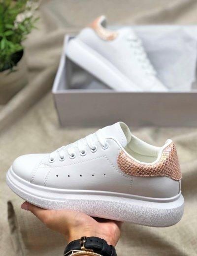 Γυναικεία λευκά ροζ Sneakers δίσολα με διχρωμία BH004R