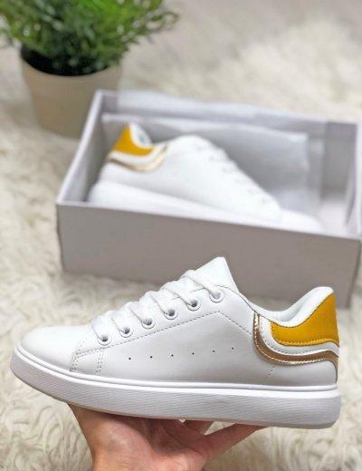 Γυναικεία κίτρινα Sneakers με διχρωμία A88-66Y
