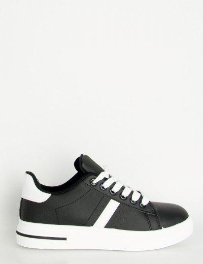 Γυναικεία μαύρα Sneakers δερματίνη λευκή διχρωμία DKB1098