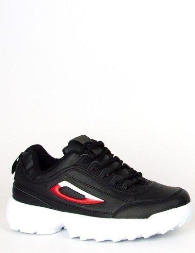 Γυναικεία μαύρα Sneakers παπούτσια με λευκή σόλα 306932L