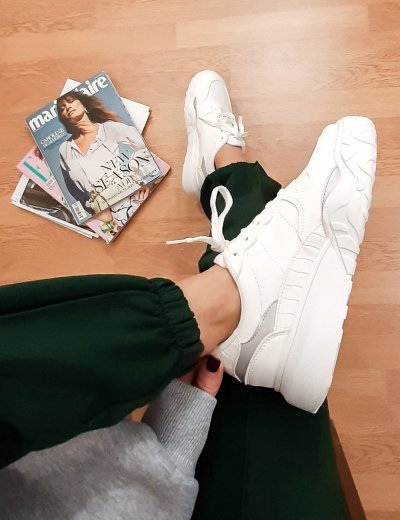 Γυναικεία λευκά Casual Sneakers δερματίνη 6135