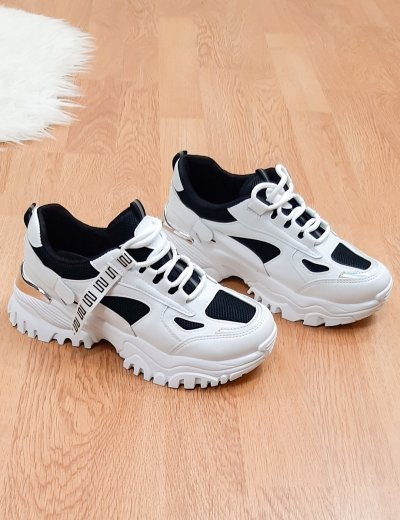 Γυναικεία μαύρα δίσολα Sneakers με σχέδιο L158K
