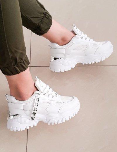 Γυναικεία λευκά δίσολα Sneakers με σχέδιο L158F