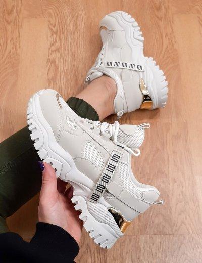 Γυναικεία μπεζ δίσολα Sneakers με σχέδιο L158