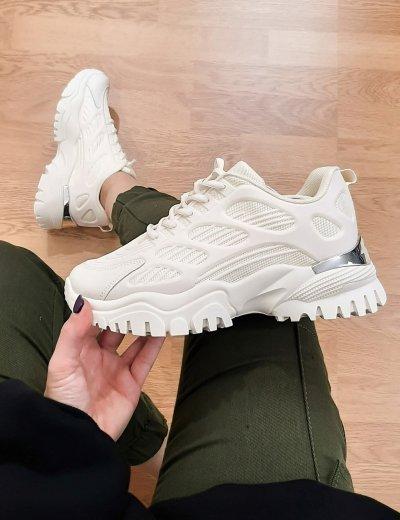 Γυναικεία μπεζ αθλητικά δίσολα Sneakers με σχέδια 5310