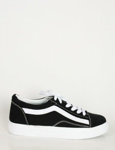 Γυναικεία ασπρόμαυρα πάνινα Sneakers με διχρωμία M622