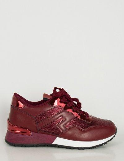 Γυναικεία κόκκινα Casual Sneakers δερματίνη διχρωμία J3R