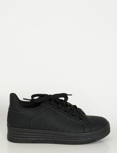 Γυναικεία μαύρα Sneakers μονόχρωμα με κορδόνια 723720G