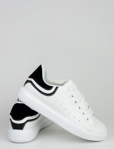 Γυναικεία ασπρόμαυρα Sneakers με διχρωμία A88-66