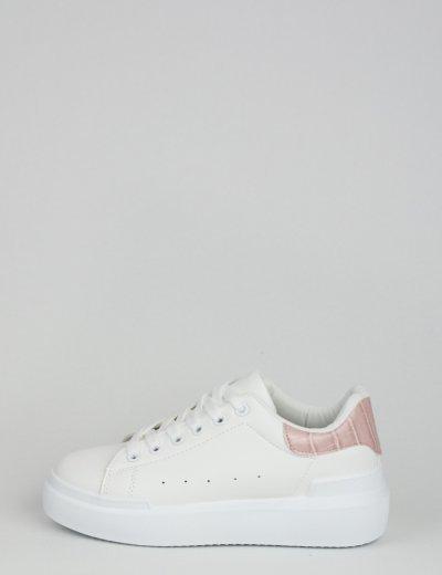 Γυναικεία ροζ Sneakers κροκό με διχρωμία GB009R