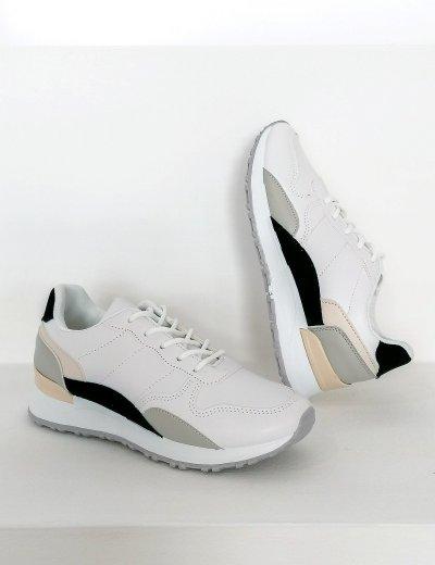Γυναικεία λευκά Casual Sneakers διχρωμία 612130B