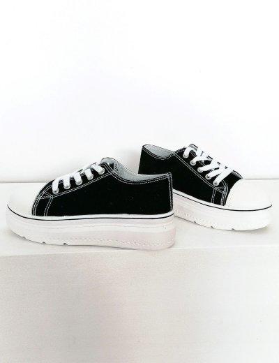 Γυναικεία μαύρα δίσολα πάνινα Sneakers 2021165