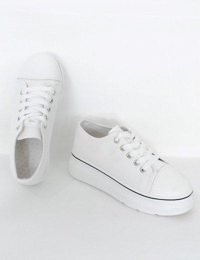 Γυναικεία λευκά δίσολα πάνινα Sneakers 2021165B