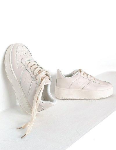 Γυναικεία μπεζ δίσολα Casual Sneakers BO599A