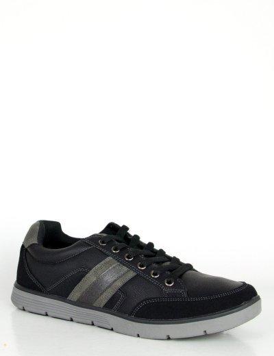 Ανδρικά μαύρα Casual παπούτσια κορδόνια διχρωμία  R86251