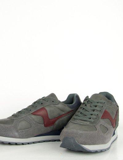 Ανδρικά γκρι Sneakers με κορδόνια διχρωμία R86527G