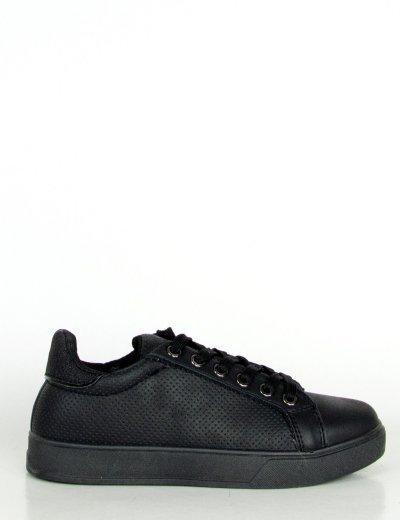 Γυναικεία μαύρα Sneakers δερματίνη Glitter 10113F