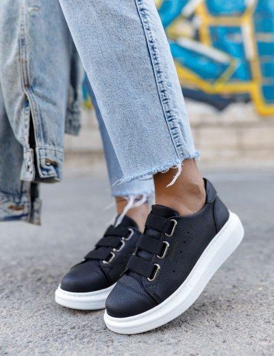 Γυναικεία μαύρα Casual Sneakers δερματίνη CH25300A
