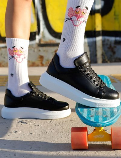 Γυναικεία ασπρόμαυρα δίσολα Sneakers λαστιχένια σόλα CH257