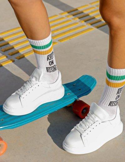 Γυναικεία λευκά δίσολα Sneakers λαστιχένια σόλα CH257A