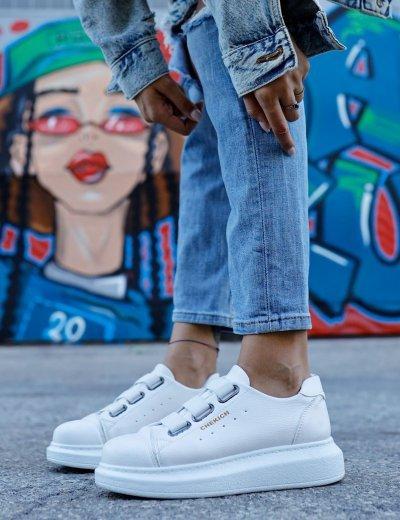 Γυναικεία λευκά Casual Sneakers δερματίνη CH25300