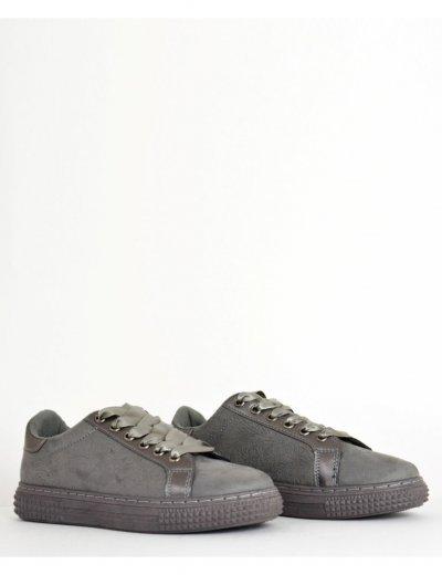Γυναικεία Sneakers Suede με σατέν κορδόνια γκρι 16522G