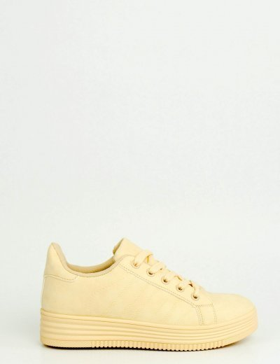 Γυναικεία Sneakers μονόχρωμα μπεζ 723720D