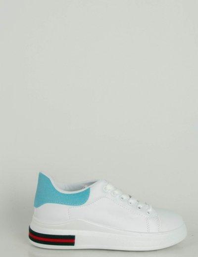 Γυναικεία λευκά Sneakers δερματίνη σιέλ διχρωμία 2391F