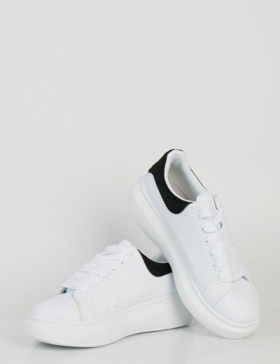 Γυναικεία λευκά δίσολα Sneakers μαύρη διχρωμία M623