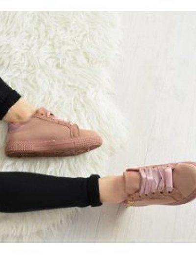 Γυναικεία Sneakers Suede με σατέν κορδόνια ροζ AB1R