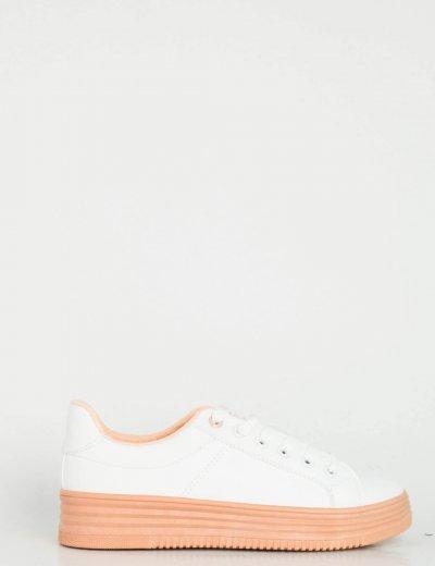 Γυναικεία λευκά Sneakers δερματίνη ροζ σόλα W68