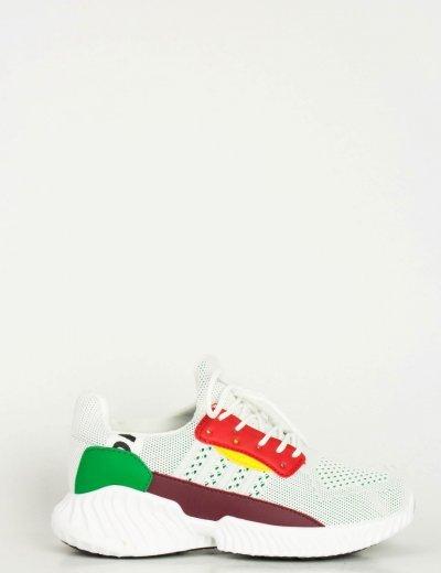 Γυναικεία λευκά αθλητικά παπούτσια λευκή σόλα BO93
