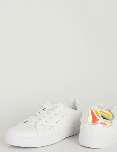 Γυναικεία λευκά Sneakers δερματίνη ροζ διχρωμία KS1215