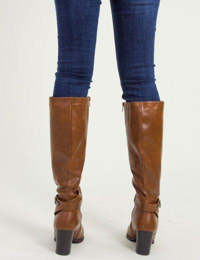 Γυναικείες κάμελ μπότες τόκα χοντρό τακούνι FR230