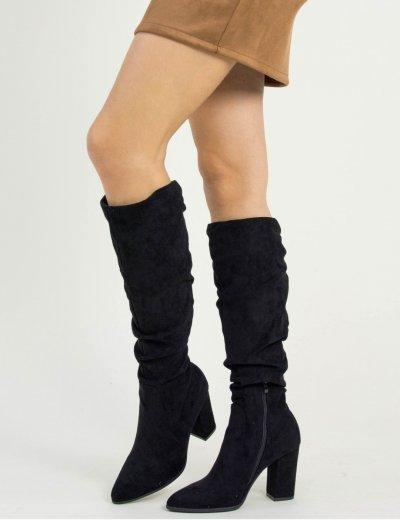 Γυναικεία μαύρες μυτερές μπότες χοντρό τακούνι J916