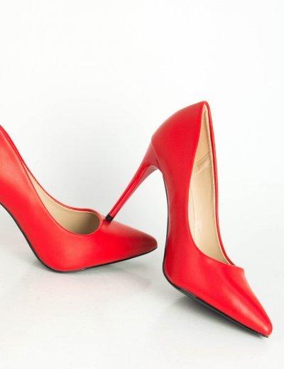 Γυναικείες κόκκινες μυτερές γόβες δερματίνη στιλέτο B78F